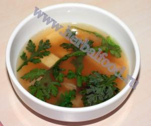 Хризантема ромашковая. Соевый суп с хризантемой.